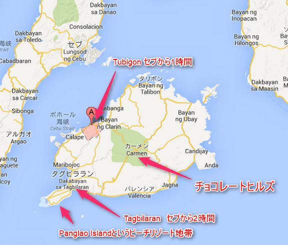 ボホール島のマップ(俺のセブ島留学)