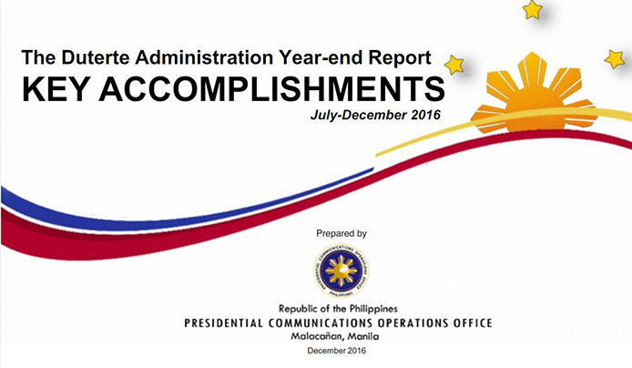 https://ja.scribd.com/document/335441872/The-Duterte-Administration-Year-End-Report-KEY-ACCOMPLISHMENTS-July-December-2016#fullscreen&from_embed